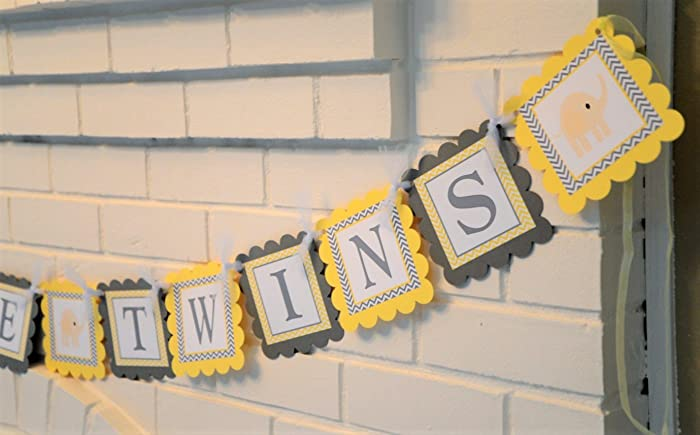 Yellow And Gray Welcome Baby Twins Elephant Baby Shower Banner,  Customizable Welcome Twins Elephant Theme
