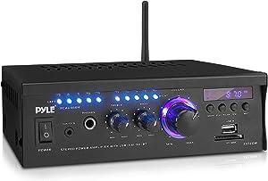 Pyle Bluetooth Computer Speaker Amplifier - 2x120 Watt Home Stereo Power Amplifier Home Audio Receiver System W/Blue Led Display, USB/SD, AUX, RCA, Headphone Jack - Remote - PCAU46BA.5