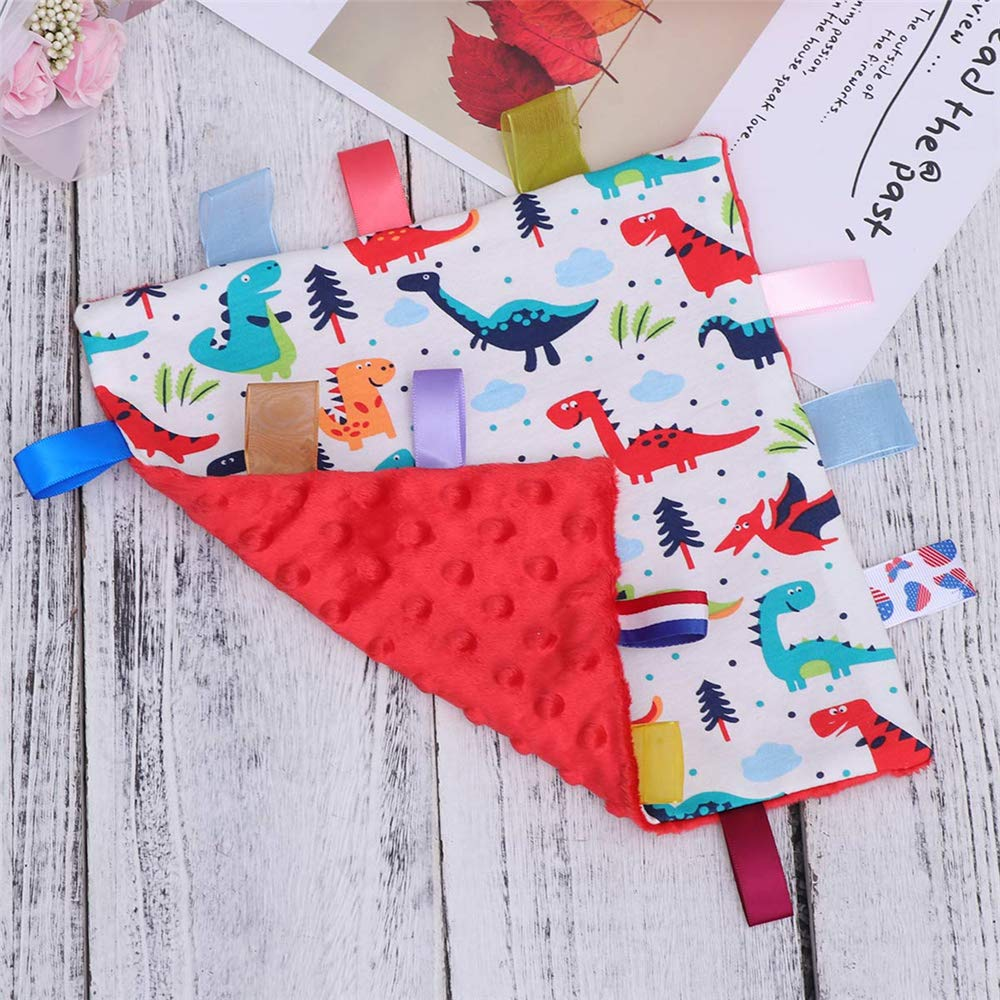 Baby Newborn Blanket with Tag Taggy Knitted Blanket Red Underside Taggy Blanket
