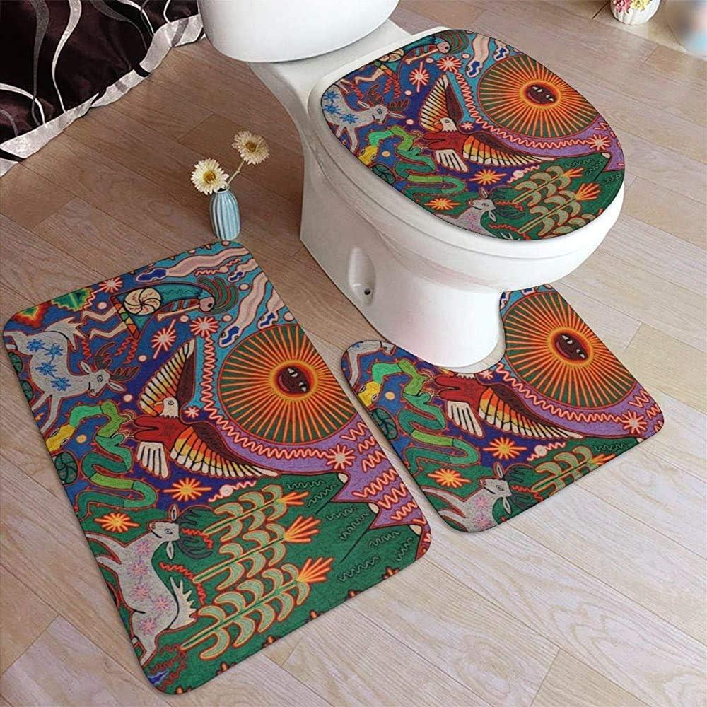 Aubrdon Oaxaca México Alfombras de baño Tribales mayas mexicanas Juego de 3 Piezas, Alfombrilla de baño + Almohadilla contorneada en Forma de U + Alfombrilla para Tapa de Inodoro