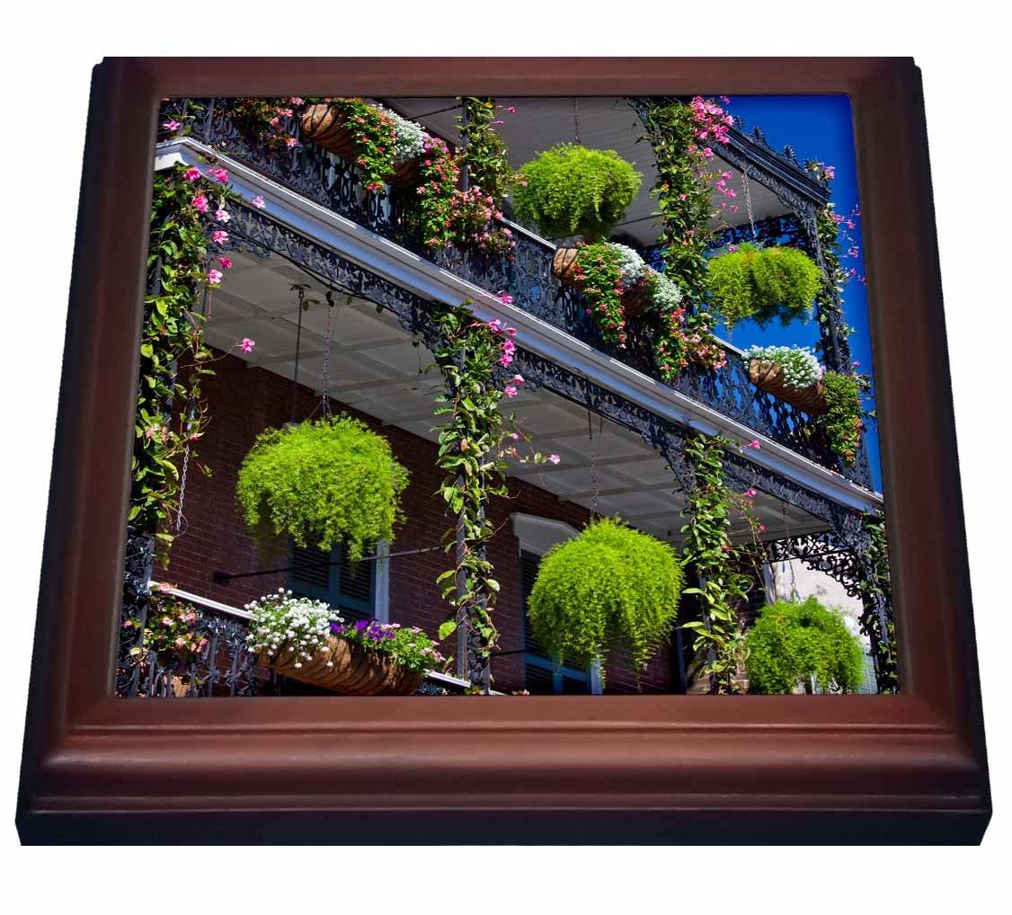 3dRose trv_90492_1''Louisiana, New Orleans French Quarter, Balcony Us19 Wbi0146 Walter Bibikow Trivet with Tile, 8'' x 8''