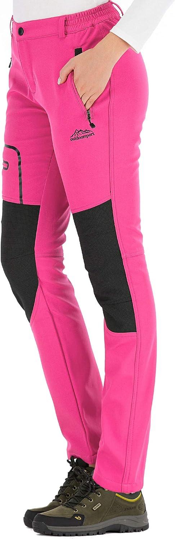 DAFENP Pantalones Trekking Mujer Impermeable Pantalones de Escalada Senderismo Alpinismo Invierno Polar Forrado Aire Libre