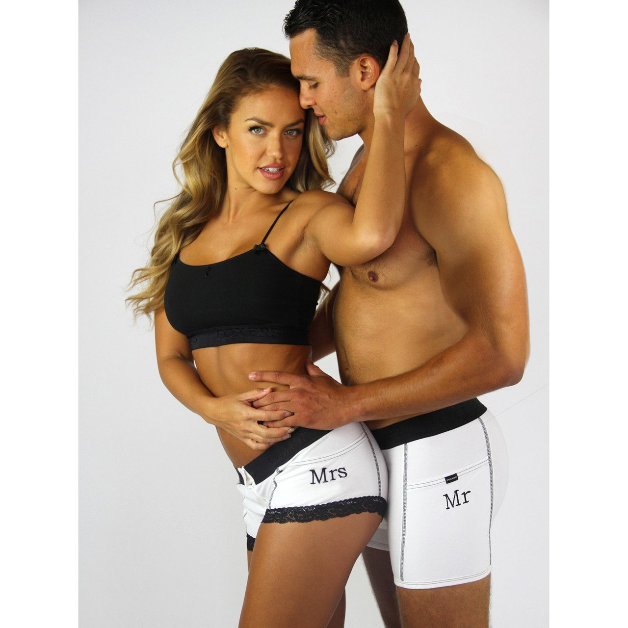 Foxers MR Monogrammed Soft White Cotton Mens Boxer Brief Underwear with Pockets S-XXL
