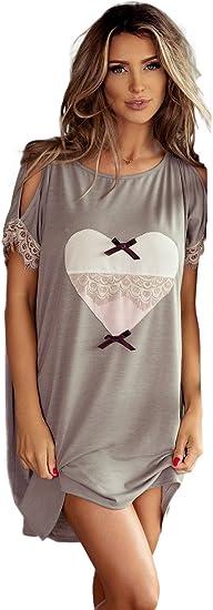 TALLA M. PIGEON Lingerie de algodón tierna hemdchen Camisón Sleep Camiseta Negligee con Tirantes de y Punta