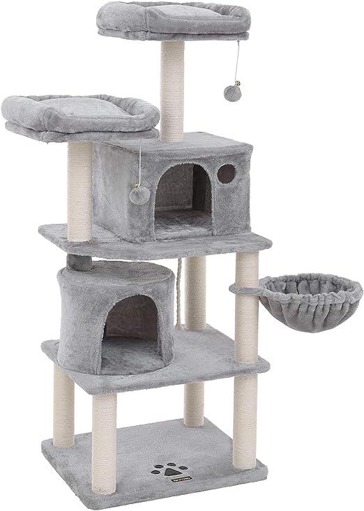 FEANDREA Árbol para Gatos, Rascador para Gatos, con Postes Recubiertos de Sisal, Varias Plataformas, Centro de Actividades para Gatos, Gris Claro PCT90W: Amazon.es: Productos para mascotas