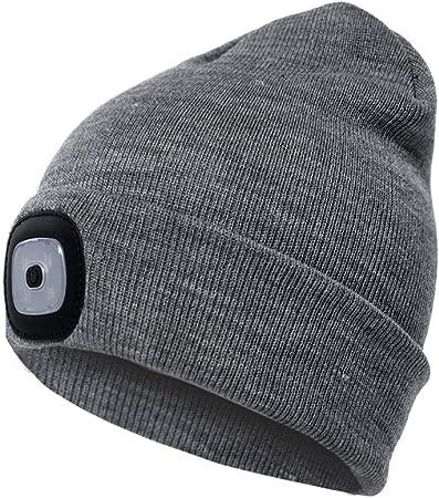 1x LED Beanie USB Rechargeable Twin Torch Lighting Cap Head Light Hat Bike Black