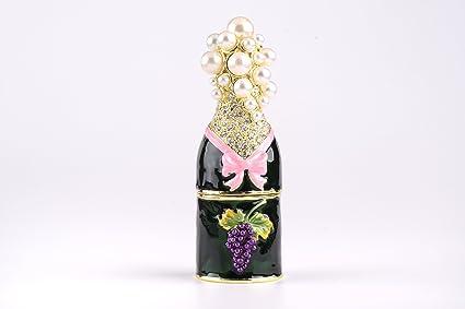 Caja para botellas, estilo Faberge, decorada con cristales de Swarovski, decoración única para