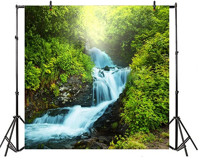FLASIY 10x7ft Natural Scenery Photography Backdrop Waterfall Mountain Background Photo Studio Props LYAY589