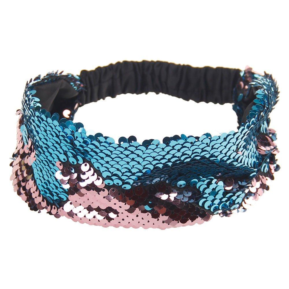 Women Fashion Hair Ball Cotton Headbands Sequins Yoga Elastic Run Head Wrap Wide Hair Accessories Sport Turban ODGear (D)