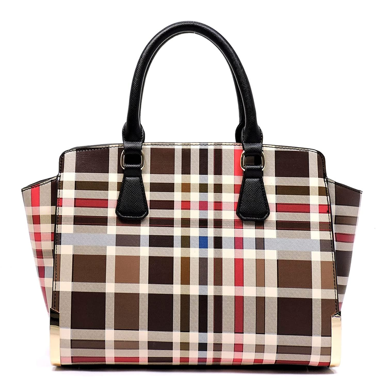 Plaid Check Top Handle Large Tote Satchel Handbag
