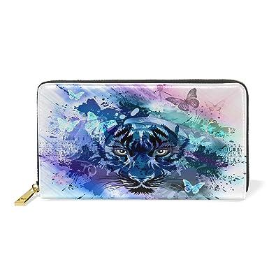 e11ccd318b50 Amazon | 動物虎レディース本革のファスナー財布携帯と小銭が置いてある ...