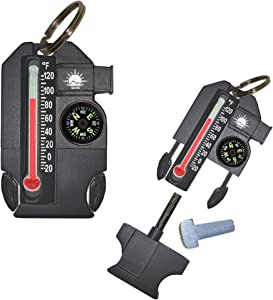 Sun Company Outsider - 4-in-1 Survival Multi-Tool | Compass, Thermometer, Whistle, and Fire Starter in a Compact Zipper Pull | Outdoor Gadget for Backpacking, Camping, or Survival Situations