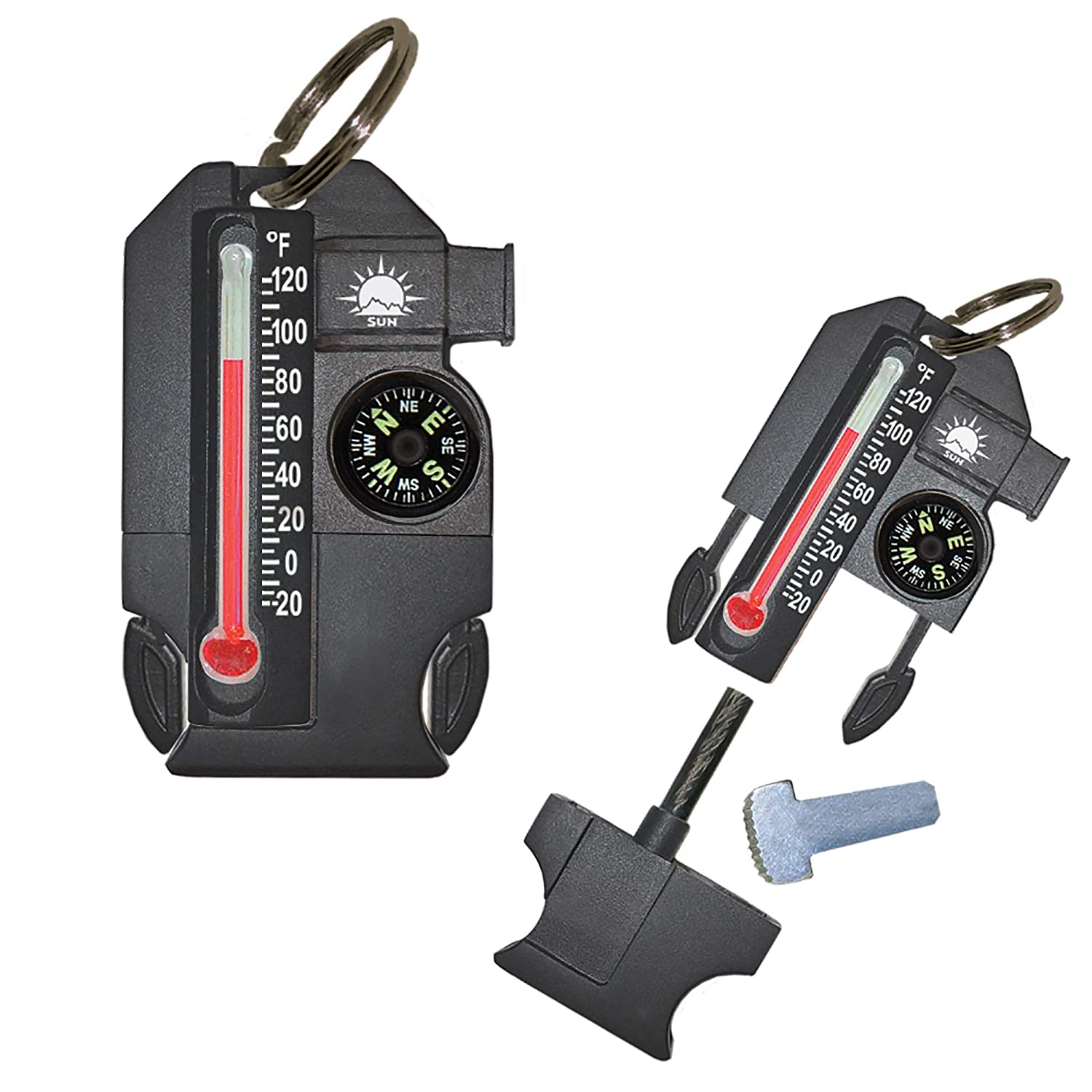 Sun Company Outsider – 4-in-1 Survival Multi-Tool Compass, Thermometer, Whistle, and Fire Starter in a Compact Zipperpull