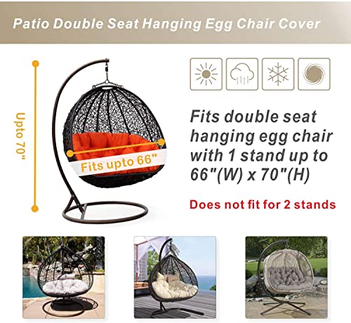 Porch Shield Patio Hanging Egg Chair Cover – Waterproof Outdoor Double Seat Wicker Swing Egg Chair with Stand Protector