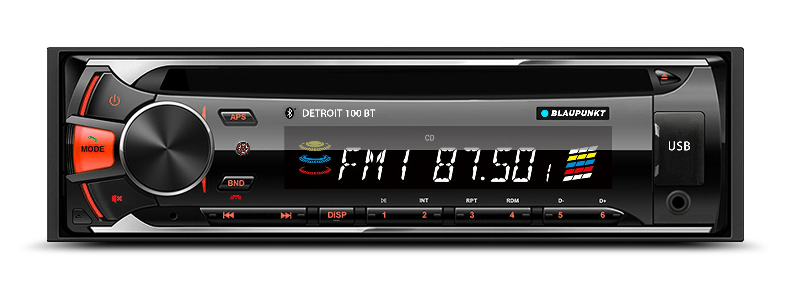 Blaupunkt DETROIT 100 BT CD, AM/FM-MPX2 Bluetooth Car Stereo Receiver with Remote Control and Removable Face Plate