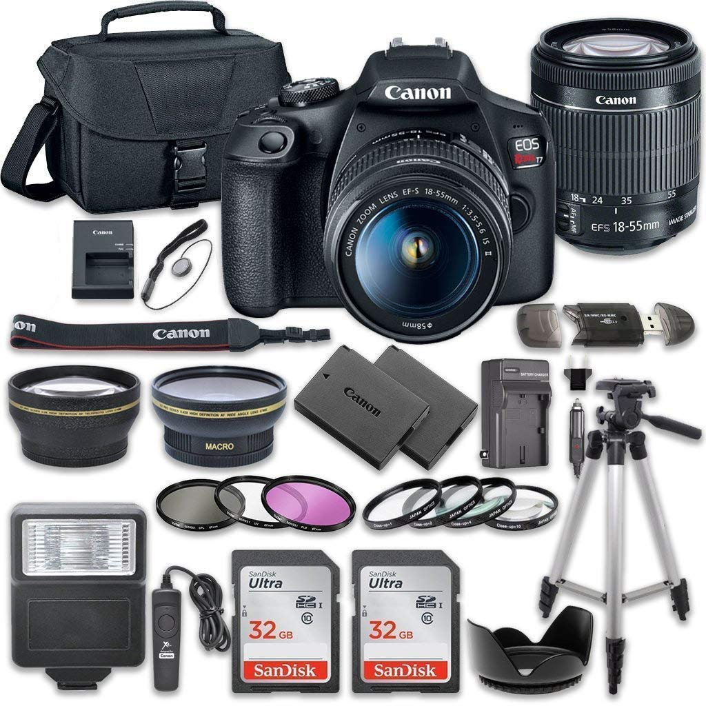 Canon EOS Rebel T7 DSLR Camera Bundle with Canon EF-S 18-55mm f/3.5-5.6 is II Lens + 2pc SanDisk 32GB Memory Cards + Accessory Kit by Canon