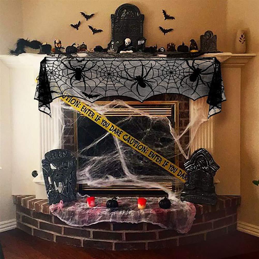 THE BEST DAY Halloween Noir Dentelle Spider Web Party Supplies chemin/ée Manteau Foulard Couverture 244 cm Nappe pour la d/écoration Halloween