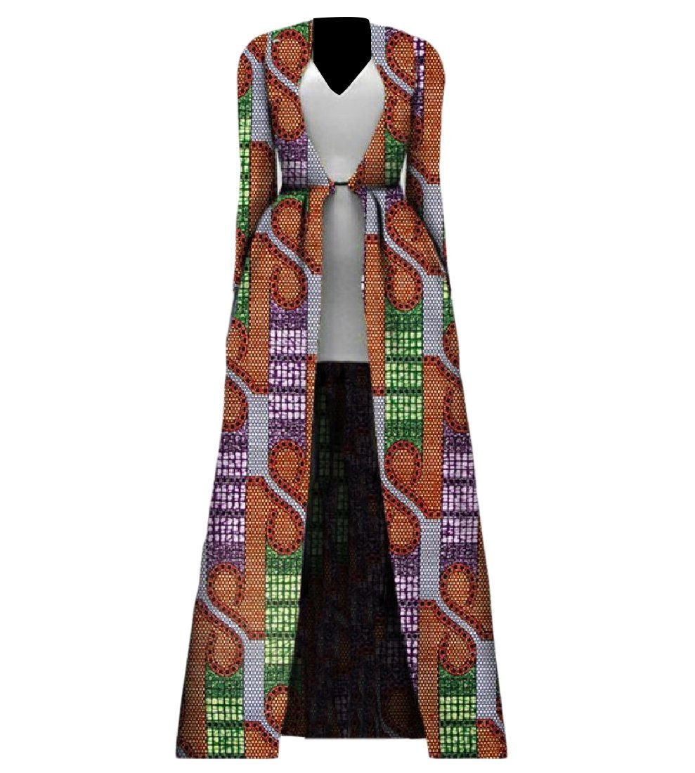 cheelot Womens Longline Wrap African Print Plus Size Premium Trench Coat 1 M