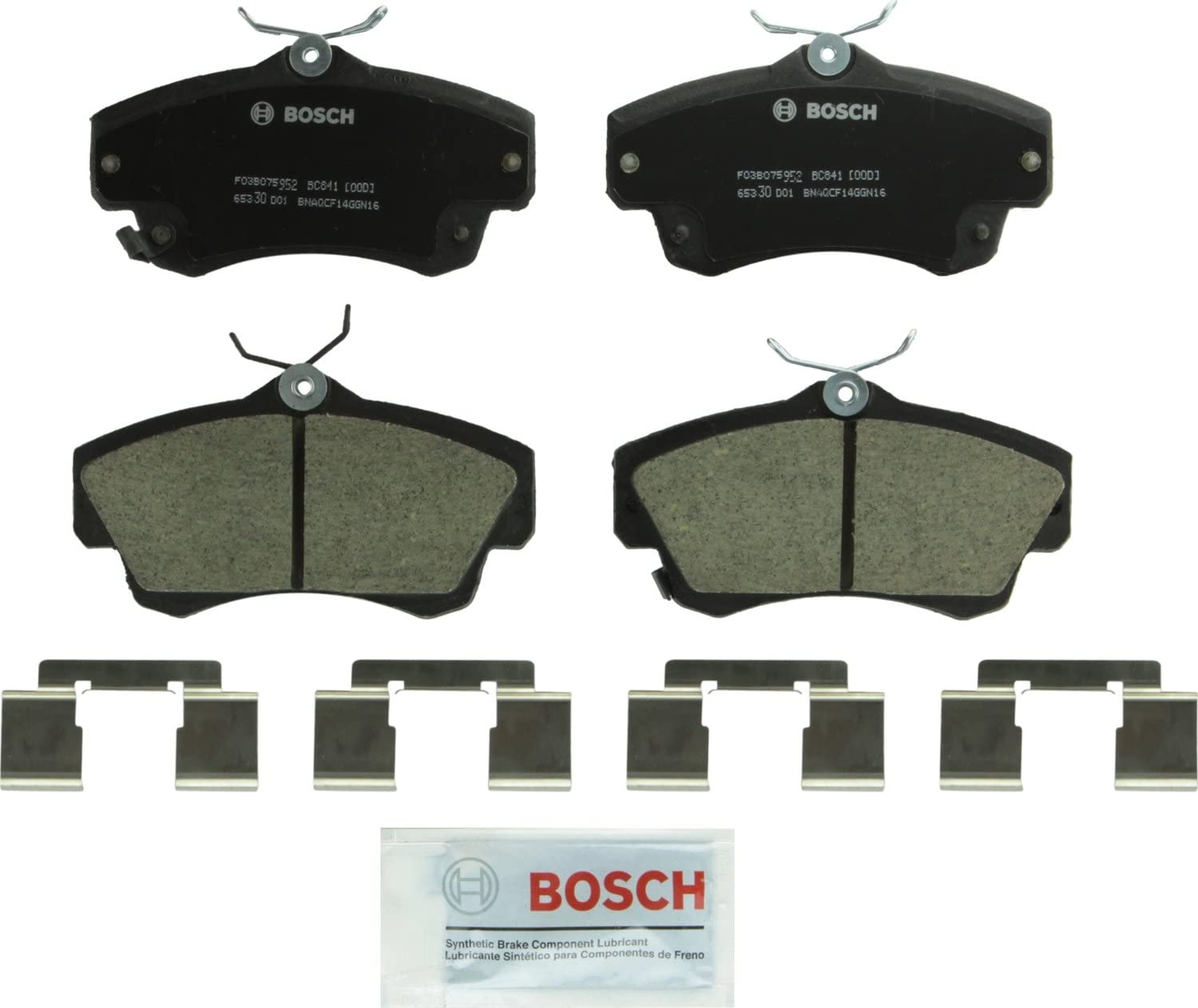FRONT Bosch BE841H Blue Disc Brake Pad Set with Hardware for Select 2001-10 Chrysler PT Cruiser and 2003-05 Dodge Neon Vehicles