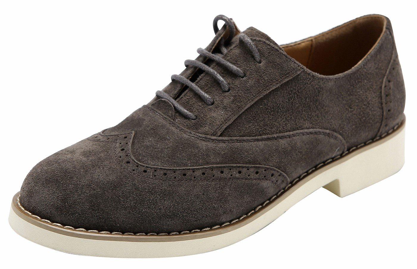 Ulite Girls Solid Color Perforated Suede Leather Lace-up Low Heel Oxfords, Comfortable Casual Walking Oxfords gry9