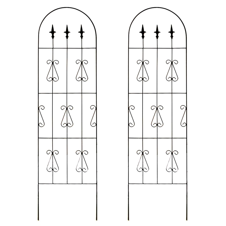 お庭をエレガントに彩るIBフェンス オーバル 高さ180cm×幅50cm Lサイズ 2枚セット ブラック JK0113L B007WSL84U   Lサイズ(180cm) (2枚セット)
