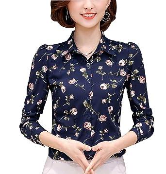 5456e36bd289cf Womens Floral Printed Long Sleeve Shirt Button Down Blouse Lapel Collar  Blue 2