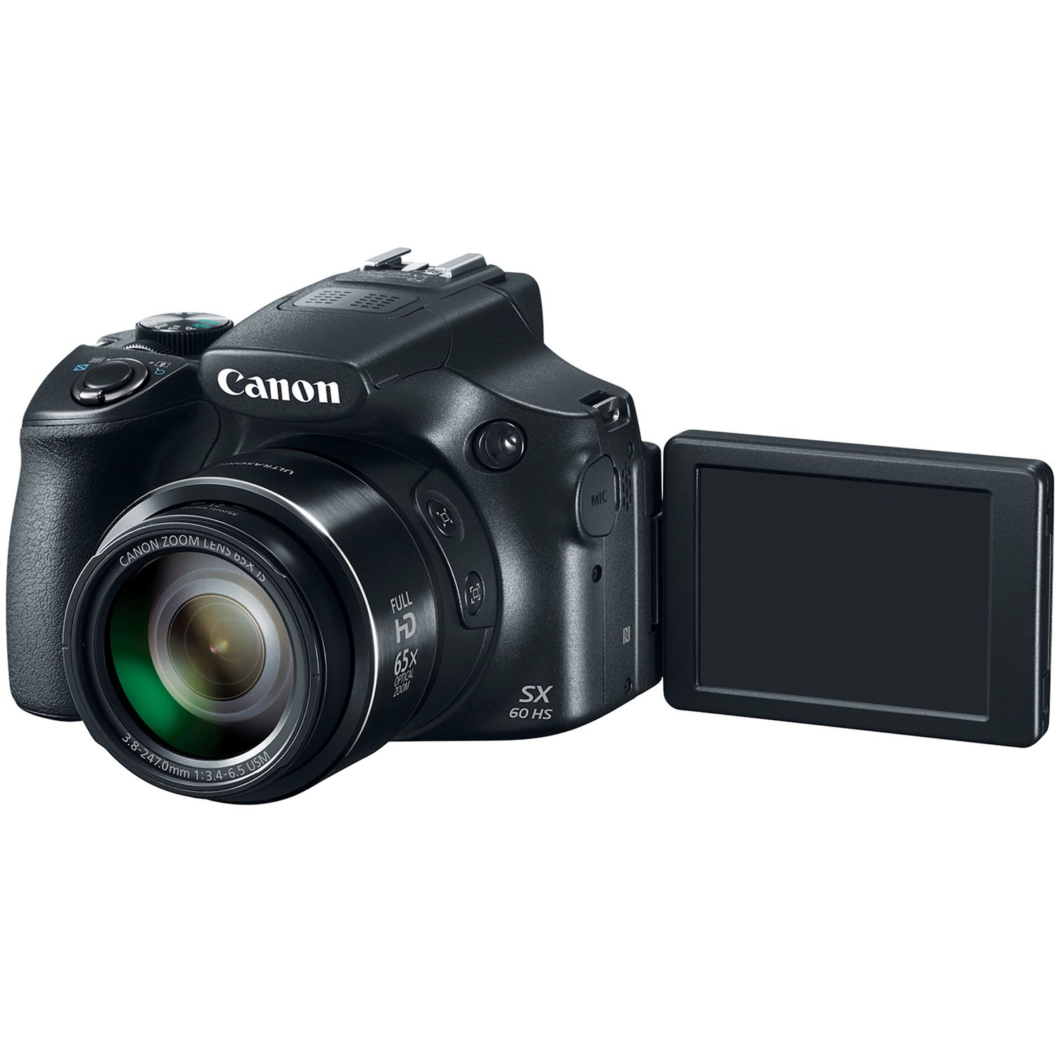 Canon Powershot Sx60 161mp Digital Camera 65x Optical Video Circuit Board Front Flickr Photo Sharing Zoom Lens 3 Inch Lcd Tilt Screen Black