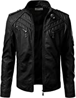 IDARBI Mens Stand Collar Zip Up Faux Leather Jacket