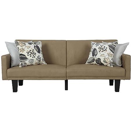 Amazon Com Tan Split Back Positioned Futon Modern Living Room Sofa