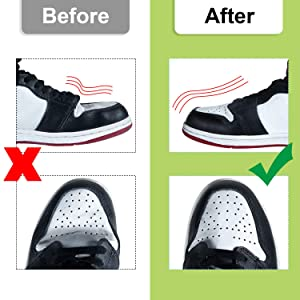8 Pairs Anti-Wrinkle Cutable Crease Protectors Shoes Crease Protector Toe Box Decreaser, Crease Guards Prevent Sneaker Shoes Crease Indentation (White) (Color: White)