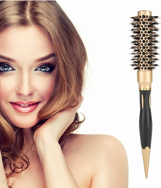 Cepillo de peluquería portátil anión antiestático redondo estilo peine de salón, dorado y negro (25)