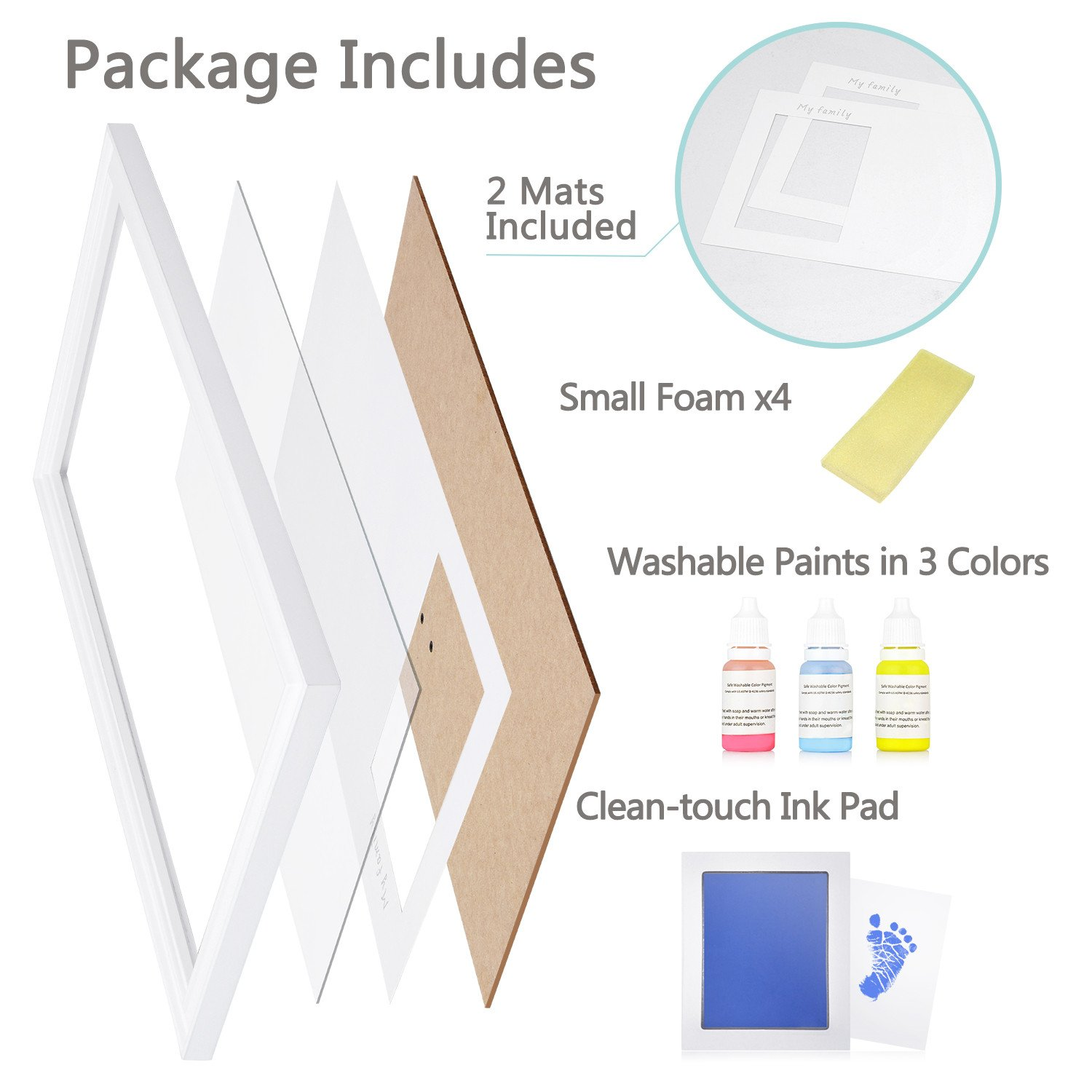 DIY Family Photo+ Family/Baby Handprints/Footprints Kit with 10 X 17'' Elegant White Wood Picture Frame, Non-Toxic Watercolor Paints, Baby Clean-Touch Ink Pad, Baby Registry Shower Keepsakes Gifts by NWK (Image #4)