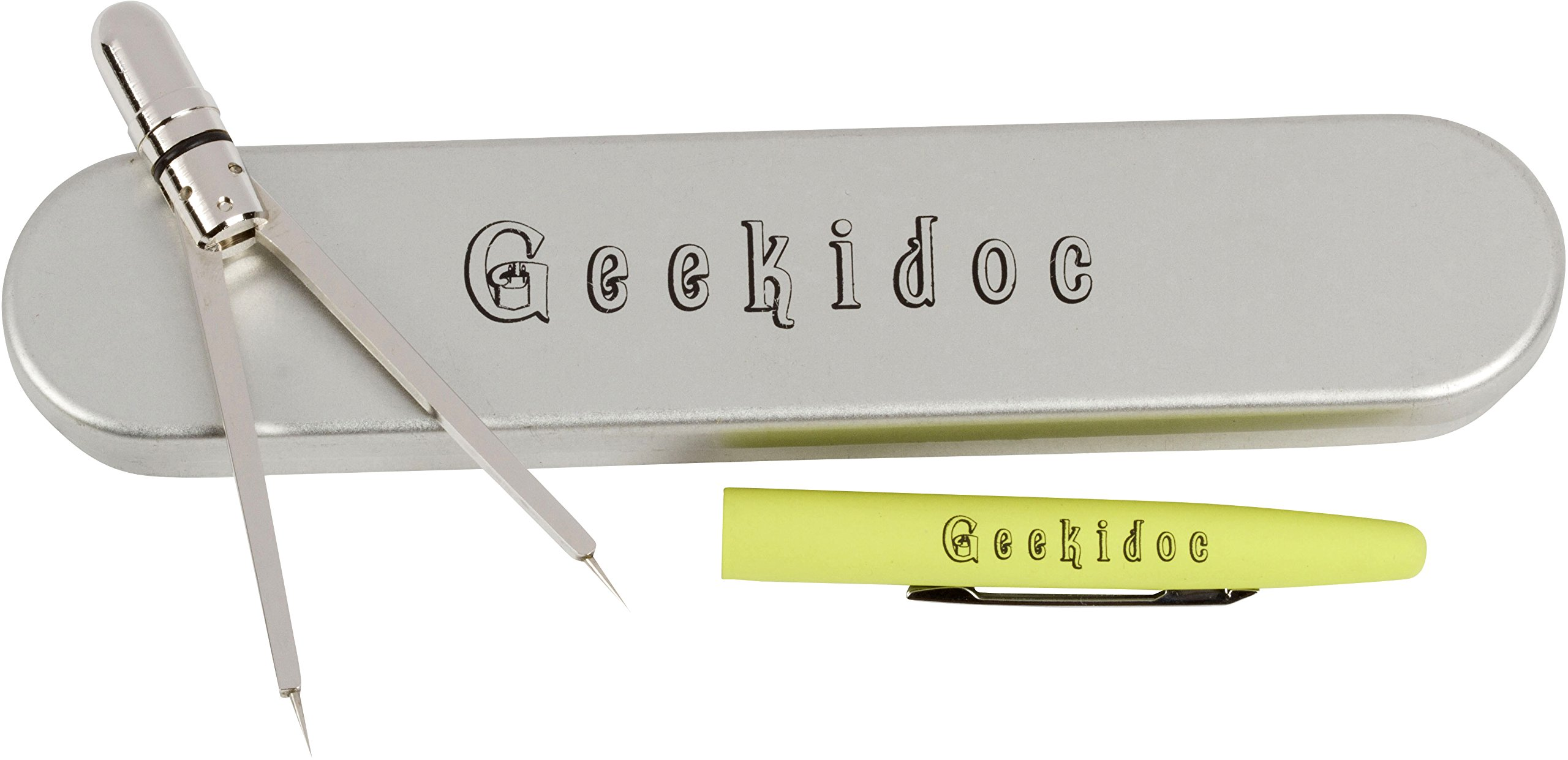 EKG calipers - ECG pen style caliper - Geekidoc quality, metal, designed to last entire career (Yellow-Green)