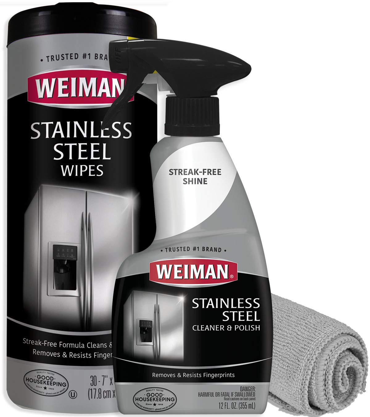Weiman Stainless Steel Cleaner Kit - Fingerprint Resistant, Removes Residue, Water Marks and Grease from Appliances - Works Great on Refrigerators, Dishwashers, Ovens, and Grills by Weiman