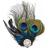 yueton?Peacock Feather Hair Clip Pin Bridal Wedding Dance Party Hair Accessory