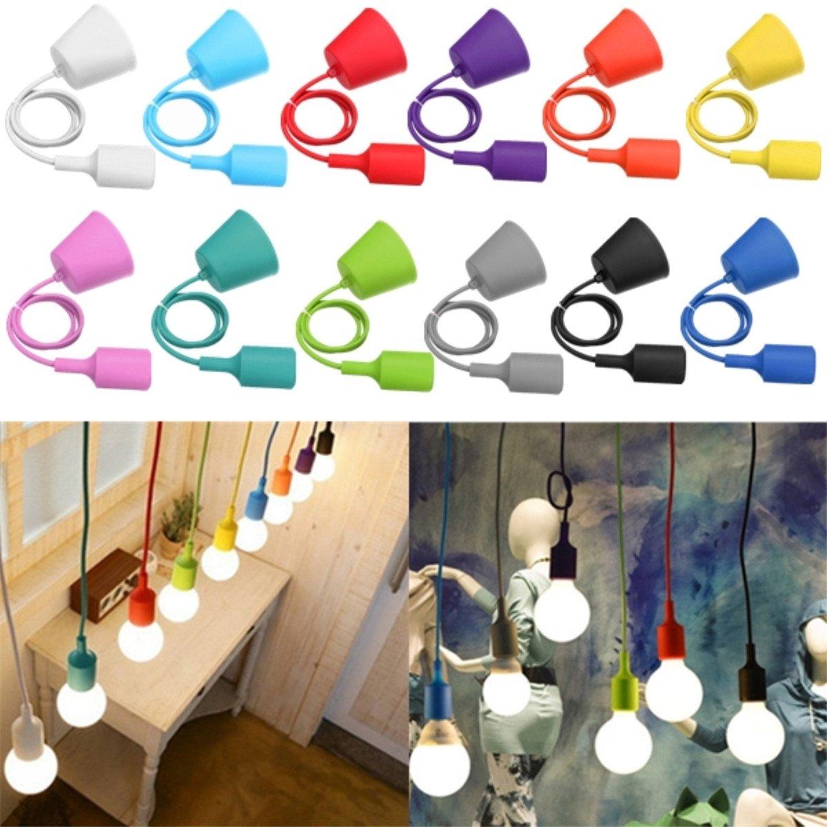 KINGSO E27 Silicone Lampenaufhängung Rubber Fassung Glühbirne Lampenkabel Pendelleuchte Lampenfassung DIY Lampenhalter Lampensockel