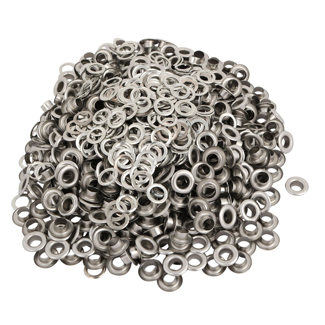 uxcell 500pcs 5mm Inner Dia 201 Stainless Steel Eyelet Grommets w Washers for Clothes Leather