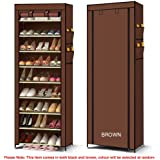 UNIWIDE 10 Tier Shoe Rack Waterproof Non-Woven Cover Cabinet/Organiser/Storage Shelves