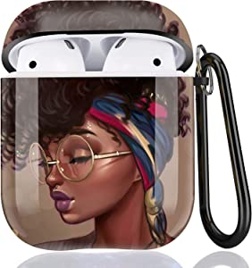 Black Girl Airpods Case - LitoDream African American Protective Hard Case Cover Skin Portable & Shockproof Women Girls with Keychain for Apple Airpods 2/1 Charging Case - Glasses Girl