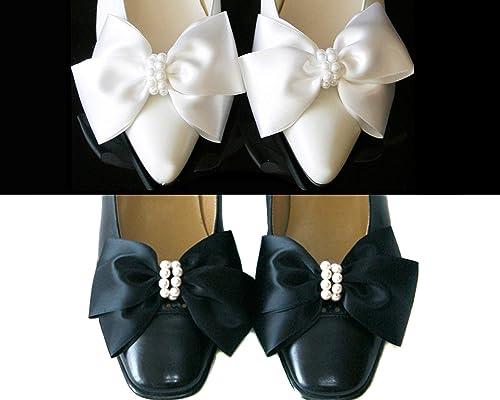 Amazon Com Satin Big Bow Pearl Shoe Clips Shoe Ornaments Shoe Ribbon Charm Wedding Ribbon Shoe Clips Bridal Shoe Clips Ribbon Ornaments Clips Shoe Clips For Pumps Handmade