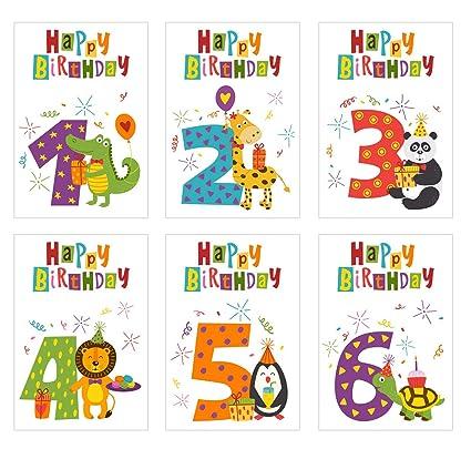 Juego 6 niños Cumpleaños Tarjetas con sobres. Tarjeta de ...