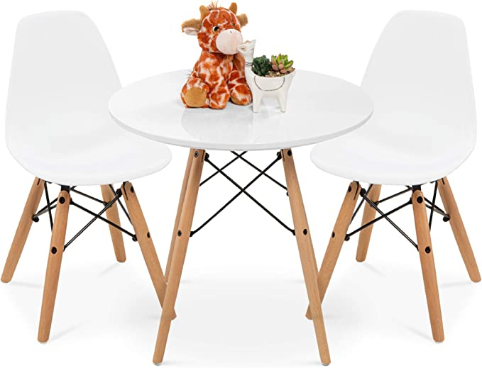 StyleInteriorFurniture Childrens dining table and chairs set Black Chair, 2 White Round Table with choice of chair colours!