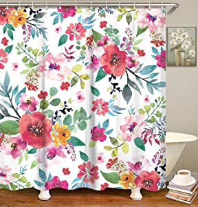 LIVILAN Floral Shower Curtain, Colorful Flowers Fabric Bathroom Curtains Set with Hooks Blossom Bathroom Decor Inches Machine Washable (72x72)