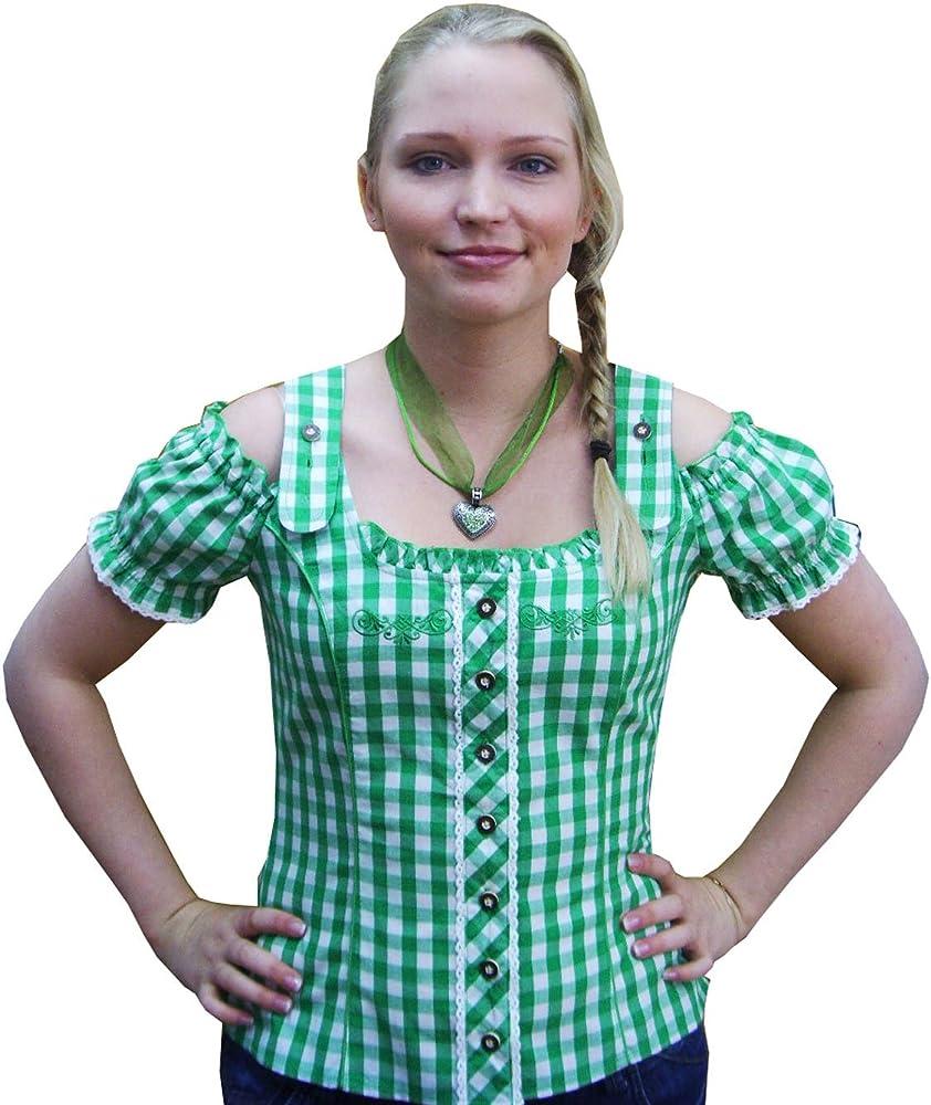 Mujer Traje Tradicional Blusa verde blanco cuadros Carmen Blusa Elli Spieth & wensky verde 36: Amazon.es: Ropa y accesorios