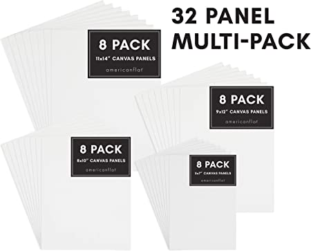 Americanflat Artists Canvas Panel 12 Pack White 9x12 inch