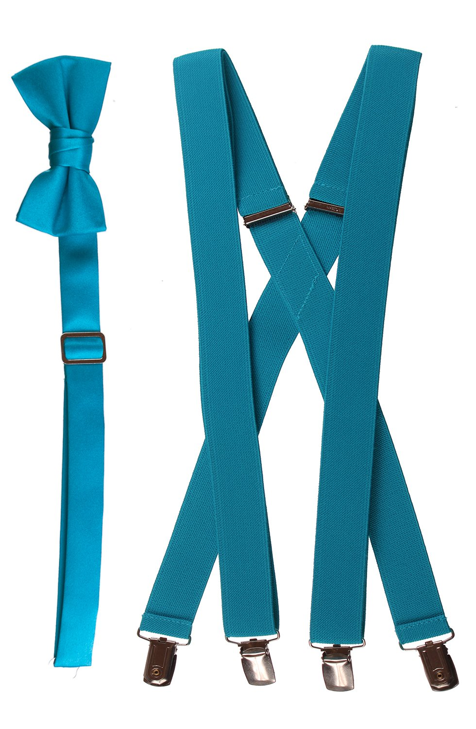 Matching Turquoise Adjustable Suspender and Bow Tie Sets, Boys and Mens Sizes (Boys 30'')