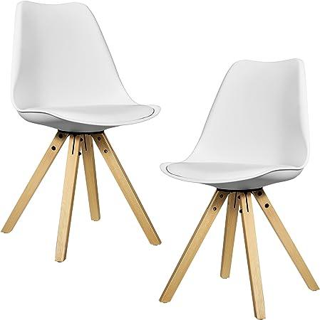 [en.casa] Kit de 2 Chaises de Cuisine Chaise de Salle à Manger Siège Design Plastique Bois Similicuir Rembourré Blanc 85 x 48,5 cm