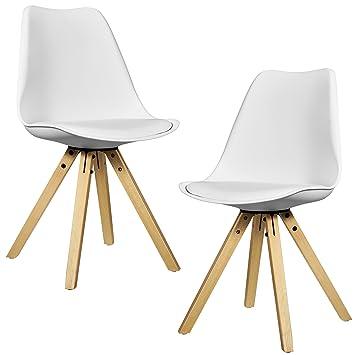 [en.casa]®] 2X sillas de Comedor Blancas tapizadas - sillas de Cocina de Cuero sintético: Amazon.es: Hogar