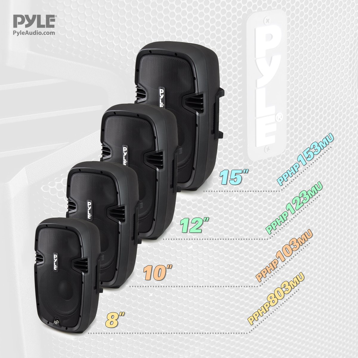 Pyle Powered Loudspeaker [Active PA Speaker System] Digital Sound Amplifier | 2-Way Stereo Sound & Power Bass | 8-Inch Subwoofer | 600 Watt (PPHP803MU) by Pyle