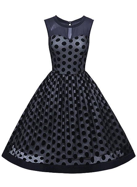 Scothen Vestido de noche elegante de las mujeres cóctel vestido vintage mangas cortas rodilla vestido de